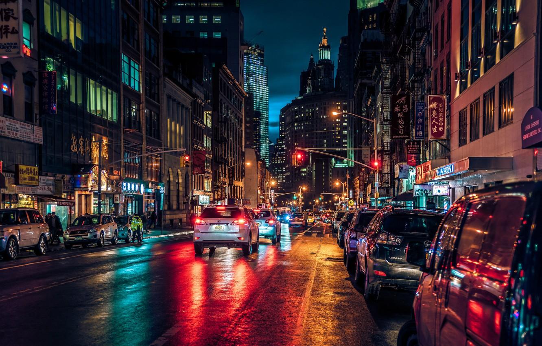 Обои ночь, движение, manhatten, чайнатаун, улица, здание, манхеттен. Города foto 7