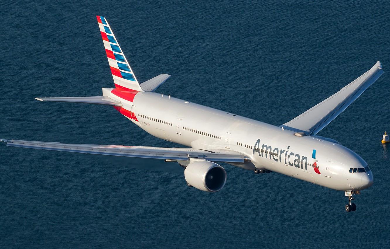 Фото обои море, лето, небо, вода, большой, самолёт, sky, Боинг, airplanes, boeing, 777, пассажирский, boeing 777, 777-300ER, …