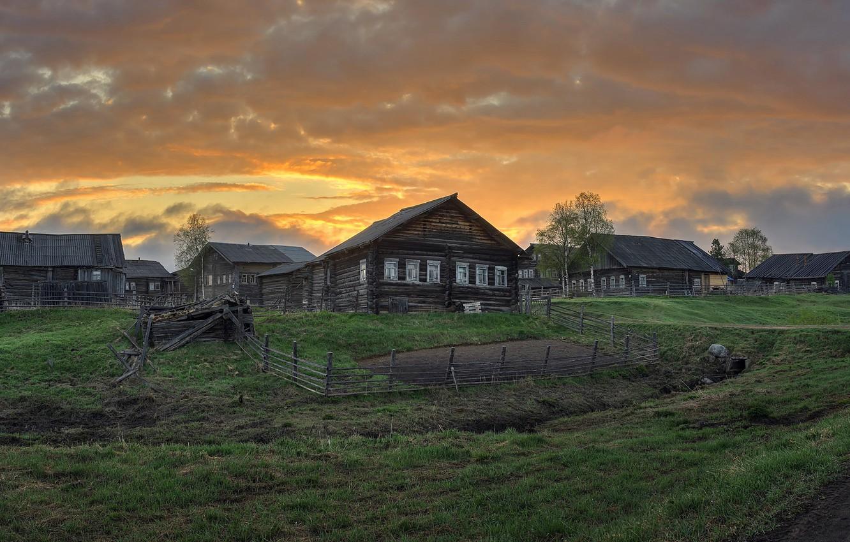 Фото обои деревня, Архангельская область, Кимжа