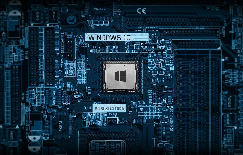 Фото обои desktop, wallpaper, windows logo, blue, processor, tecnology, windows 10