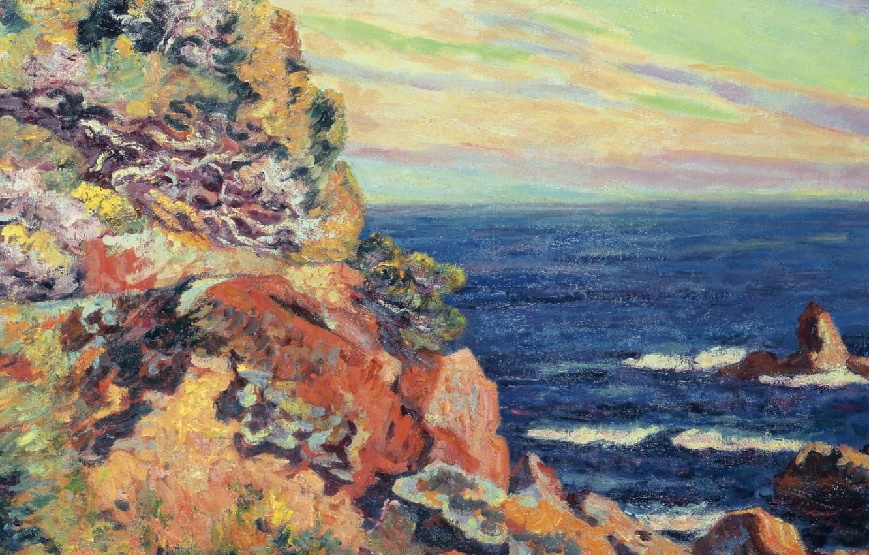 Фото обои море, пейзаж, картина, Арман Гийомен, Armand Guillaumin, Скалы в Аге
