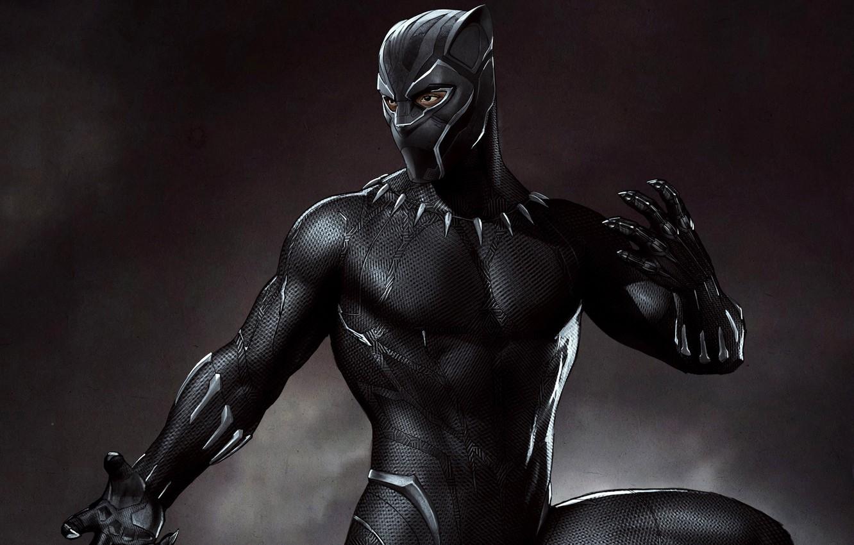 Фото обои фон, фантастика, черный, маска, арт, костюм, постер, комикс, MARVEL, Black Panther, Чёрная Пантера