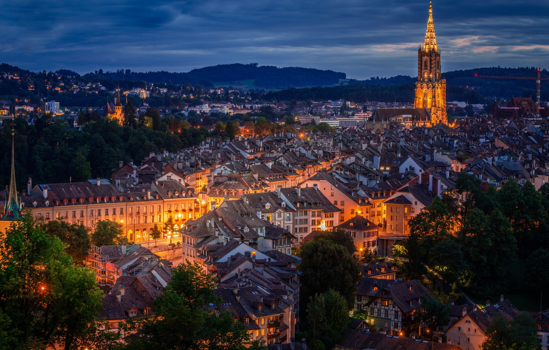 Фото обои Швейцария, панорама, ночной город, Switzerland, Берн, Bern