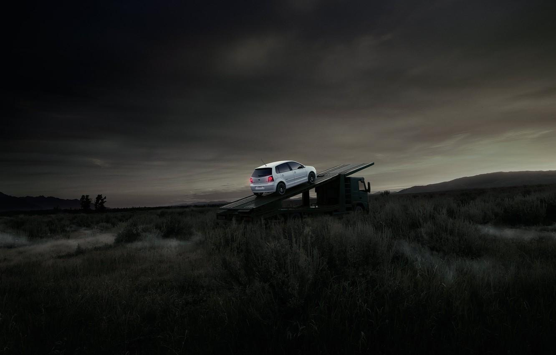Фото обои поле, белый, Volkswagen, камаз