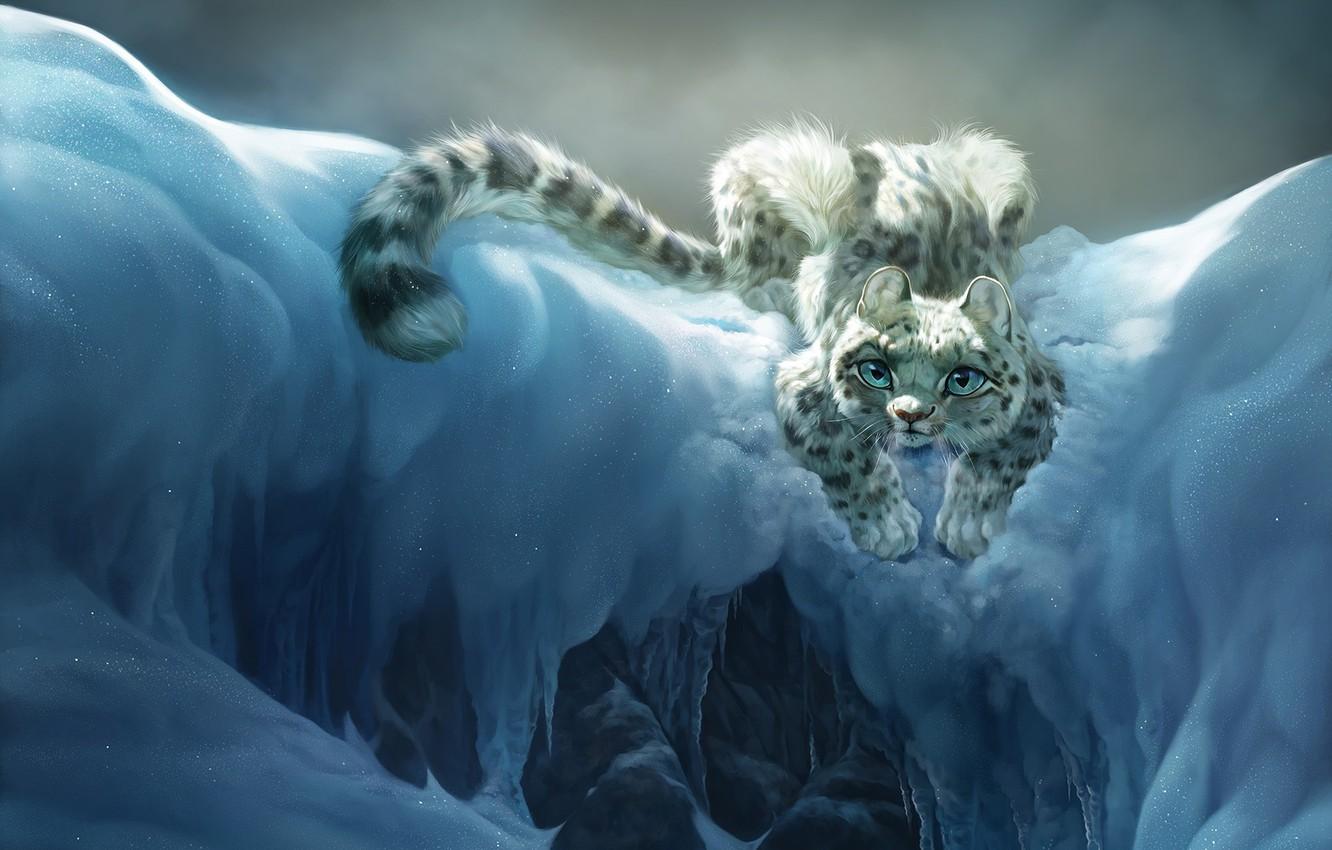 Фото обои кошка, снег, горы, настроение, арт, барс, детская