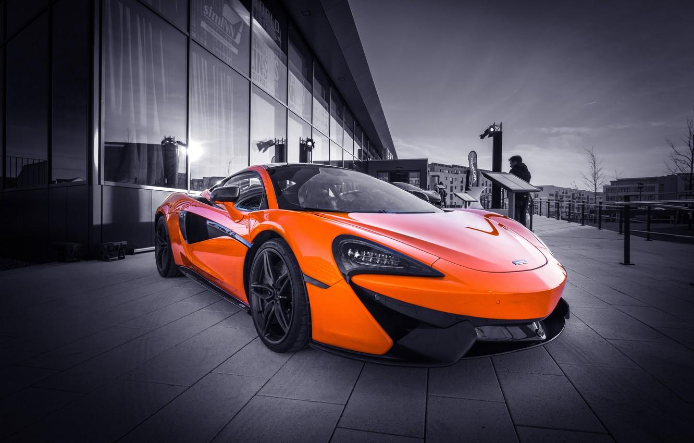 Фото обои оранжевый, спорткар, McLaren 570S