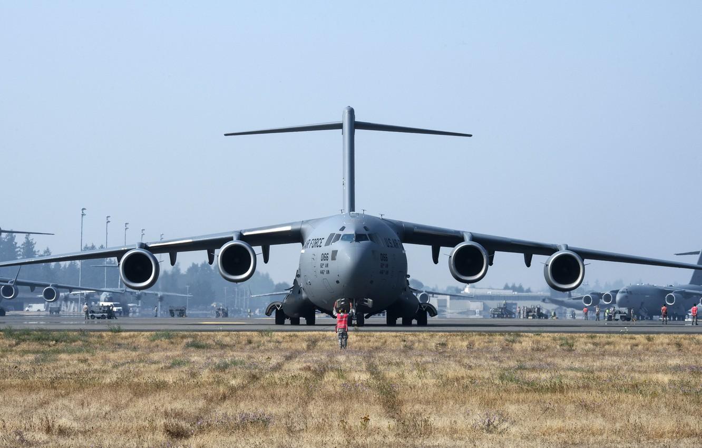 Фото обои aircraft, military, air force, Boeing C-17 Globemaster III, 001, cargo and transport aircraft