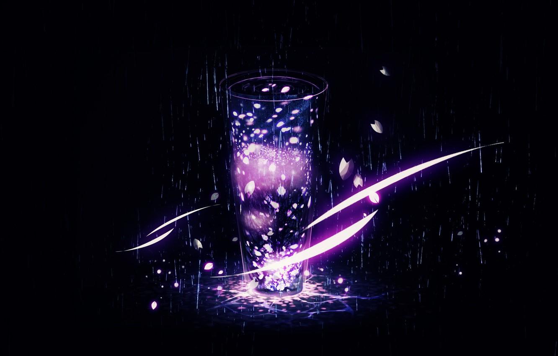 Фото обои дождь, дерево, лепестки, Y_Y, стеклянный сосуд