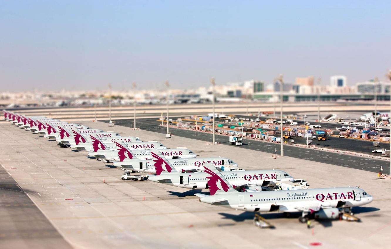 Фото обои Небо, Лето, Лайнер, Аэропорт, Самолёт, Пассажирский, Airbus, Аэробус, Qatar, Катар, Qatar Airways, A-320, A320, А-320, …