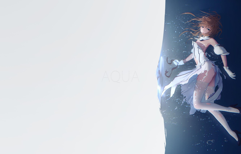 Фото обои girl, minimalism, anime, Aqua, blue eyes, illustration, simple background, anime girl, Fate/Grand Order, Saber Lily