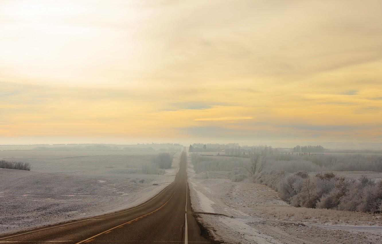 Фото обои зима, дорога, поле, природа, туман, утро