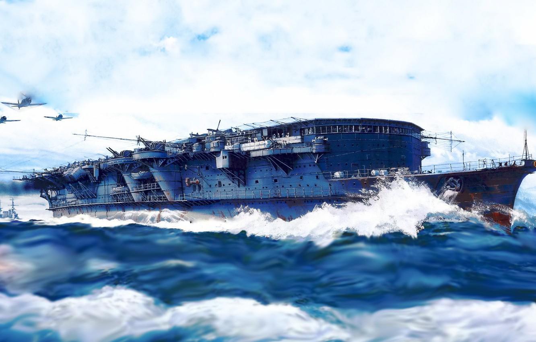 Фото обои aircraft carrier, IJN, ryujo