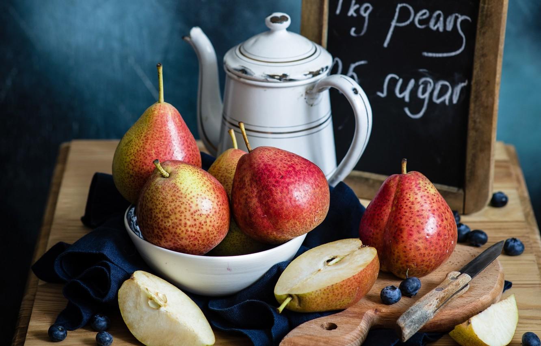 Фото обои ягоды, чайник, нож, доска, натюрморт, груши