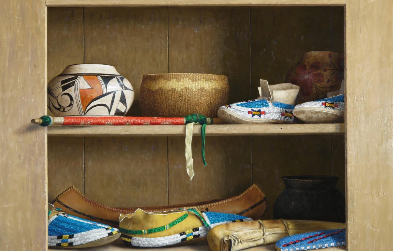 Фото обои Still life, William Acheff, Индейский натюрморт, башмачки, тары, Spirit of the Native People