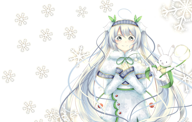 Фото обои аниме, арт, снежинка, вокалоид. мику., snow miku