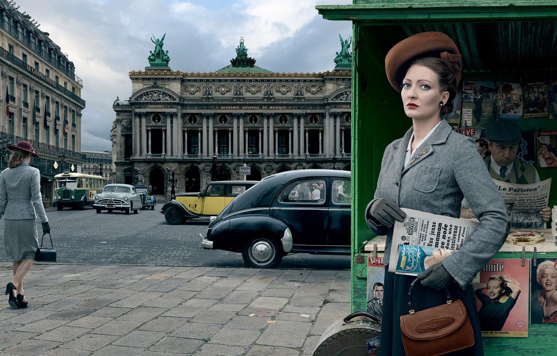Фото обои авто, девушка, город, ретро, Париж, 1954, Stories, киоск