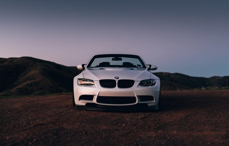 Фото обои BMW, Front, White, E92, Sight, LED