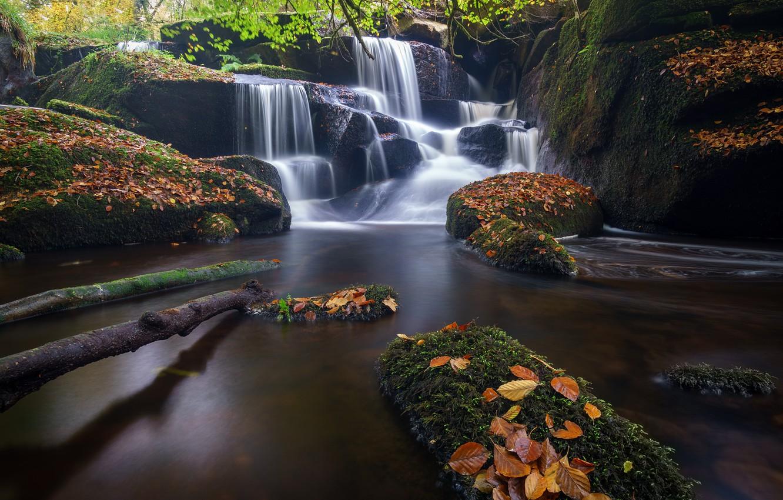 Фото обои осень, листья, река, камни, Франция, водопад, каскад, France, Brittany, Бретань, Saint-Herbot