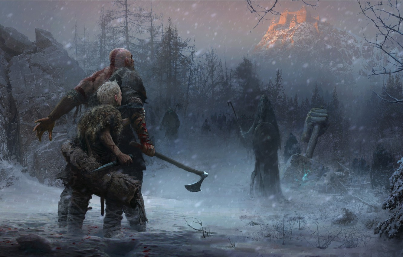 Фото обои axe, game, Sony, Kratos, God of War, snow, knife, Loki, god, god slayer, Atreus