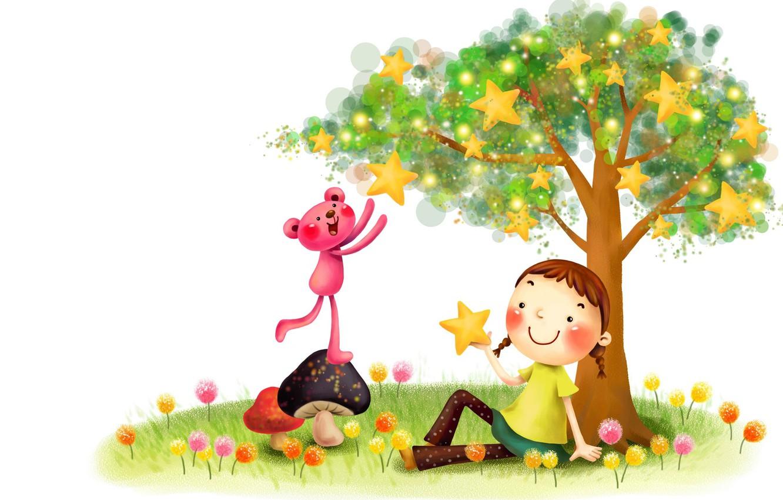 Обои Розовая пантера, настроение, Девочка, детская, звездочки, вектор. Разное foto 6
