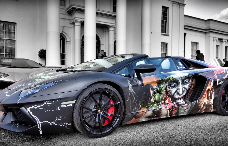 Фото обои LP700-4, Aventador, Lamborghini Aventador, Marvel Supercar