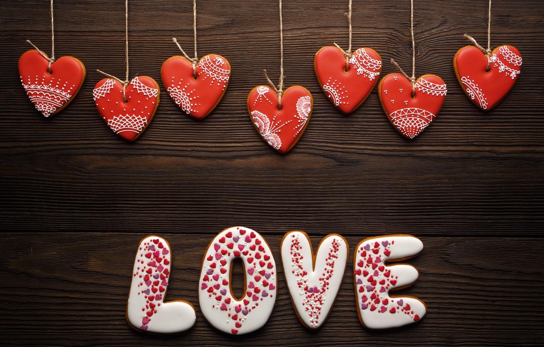 Фото обои любовь, романтика, сердечки, red, love, romantic, hearts, Valentine's Day, gift, cookies