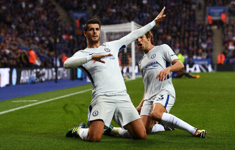 Фото обои Football, Premier League, Spain, Chelsea, Stamford Bridge, Alvaro, Celebration, Goal, Forward, Alvaro Morata, Morata