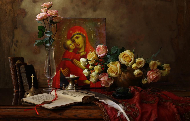 Фото обои цветы, розы, натюрморт, икона