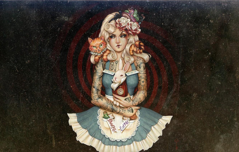 Фото обои painting, artwork, illustration, Alice-in-Wonderland