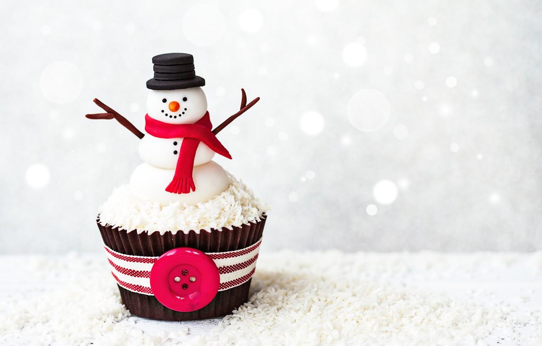 Фото обои новый год, снеговик, десерт, сладкое, кекс