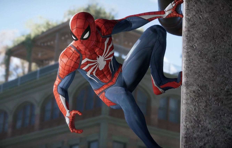 Фото обои Игра, Стена, Костюм, Герой, Маска, Супергерой, Hero, Wall, Marvel, Человек-паук, Game, Comics, Spider-Man, Peter Parker, …