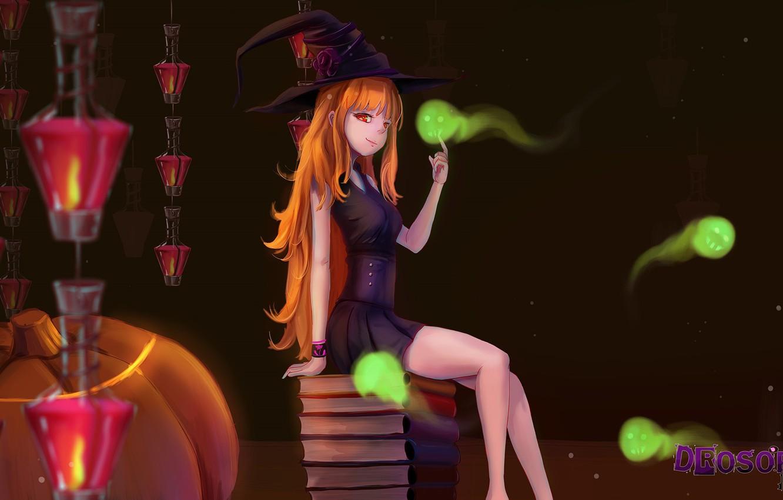 Фото обои книги, духи, фонари, тыква, рыжая, призраки, сидит, красные глаза, art, witch, в темноте, шляпа ведьмы, …