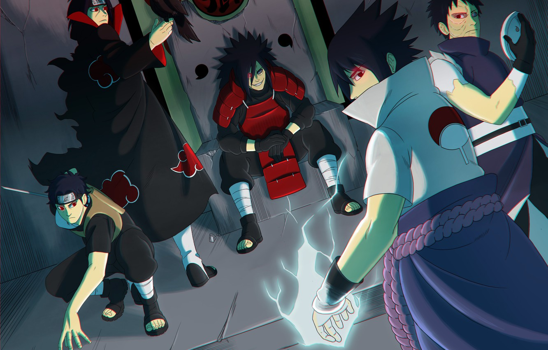 Фото обои logo, game, Sasuke, Naruto, armor, crow, anime, man, Itachi, sharingan, evil, asian, Akatsuki, mask, Uchiha, …