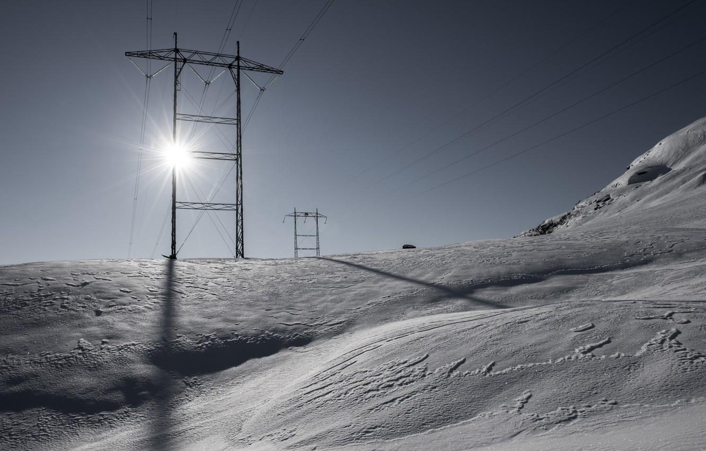 Фото обои зима, утро, лэп