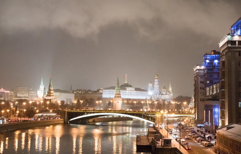 Фото обои ночь, город, огни, река, Москва, Кремль, Russia, Moscow, Kremlin