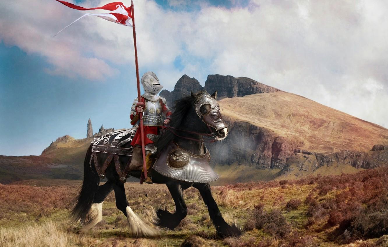 Фото обои поле, небо, облака, пейзаж, горы, фантазия, конь, черный, доспехи, флаг, воин, фэнтези, шлем, всадник, рыцарь, ...