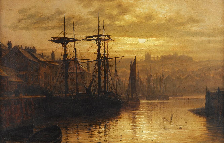 Фото обои Вечер, Город, Корабли, Louis Hubbard Grimshaw