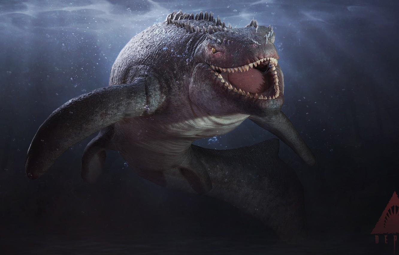 Фото обои зубы, Глубина, Акула, рептилия, белая акула, Skin, reptile, teeth, Great white shark, Ящероподобный, Depth, Saurian, …