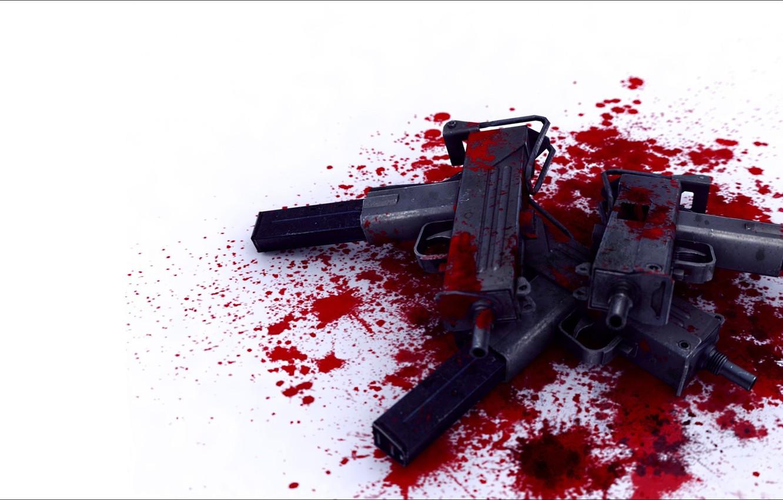 Фото обои оружие, кровь, пятна, автоматы, пистолет-пулемет