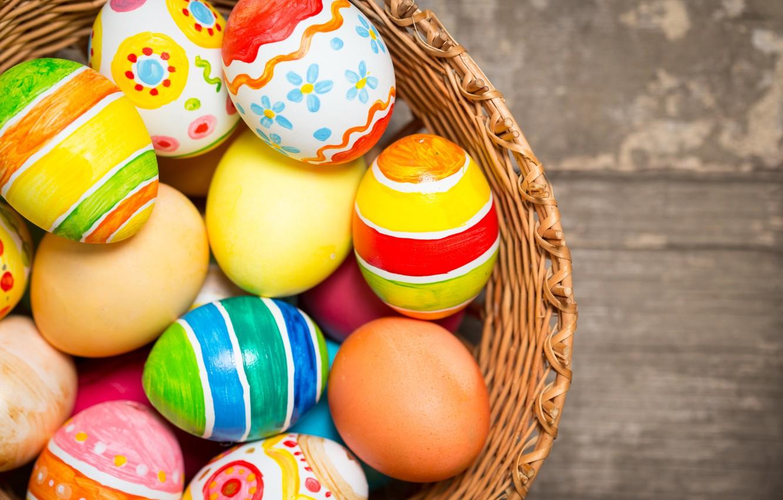 Фото обои корзина, colorful, Пасха, happy, wood, spring, Easter, eggs, holiday, basket, яйца крашеные