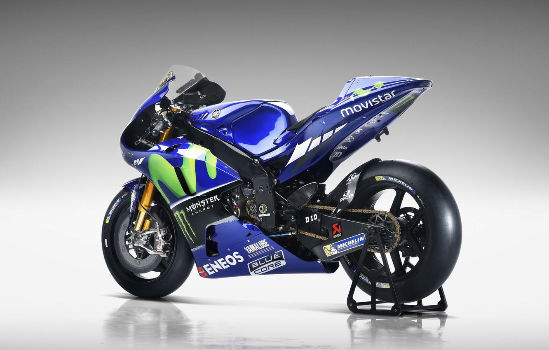 Фото обои Yamaha, blue, Monster Energy, Michelin, moto GP, Yamaha YZR M1, Eneos, Movistar, Blue Core