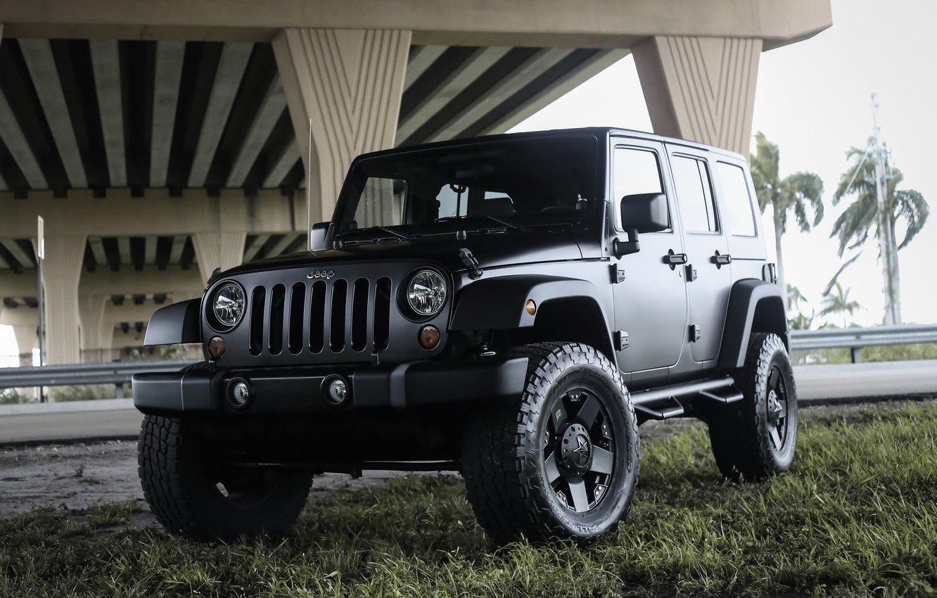 Фото обои Black, Matte, Wrangler, Jeep
