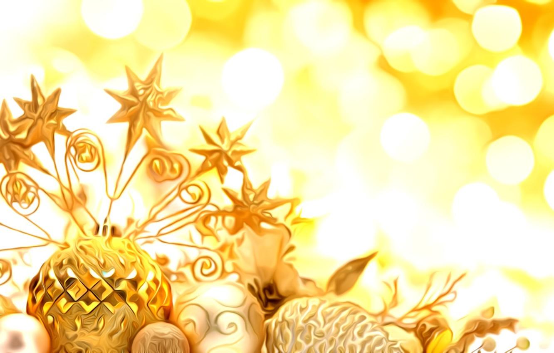 Фото обои свет, блики, рендеринг, праздник, обработка, Новый Год, елочные игрушки, золотые украшения