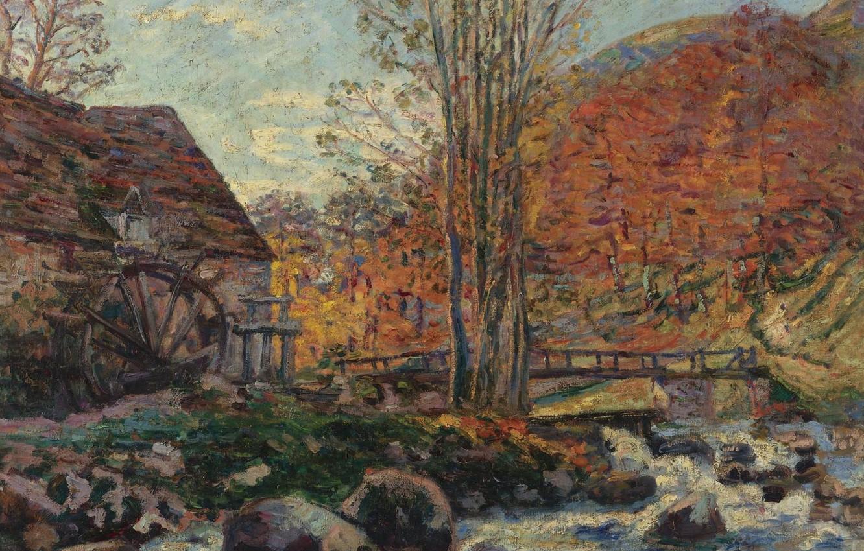 Фото обои пейзаж, картина, Мельница, Арман Гийомен, Armand Guillaumin