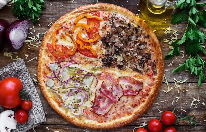 Фото обои зелень, грибы, сыр, мясо, пицца, помидоры