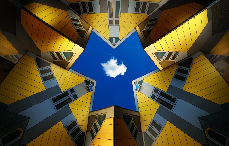 Фото обои небо, город, облако, Нидерланды, Архитектура