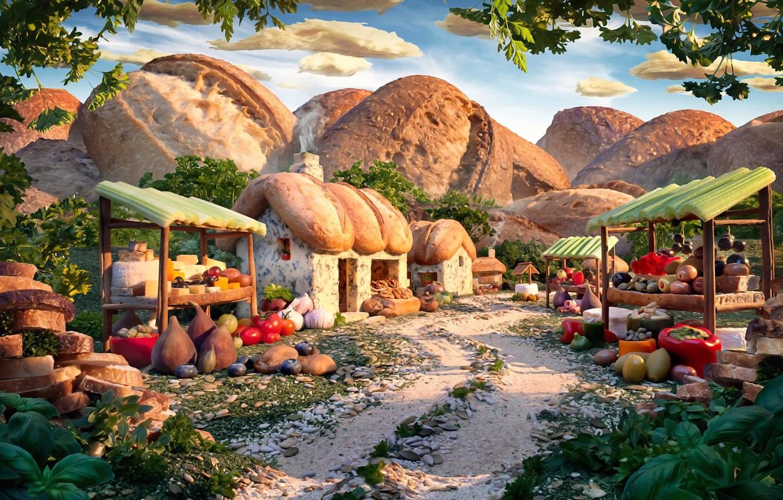 Фото обои зелень, сыр, хлеб, фрукты, овощи, семечки, картинка, вкусный пейзаж, Карл Уорнер, фудскейп