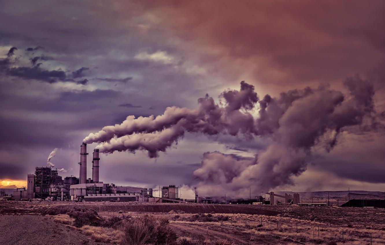 Фото обои трубы, завод, дым