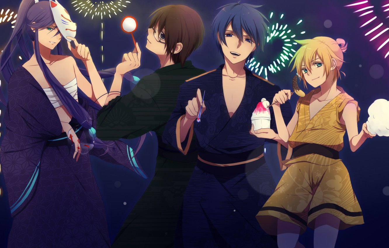 Фото обои маска, парни, Vocaloid, Вокалоид