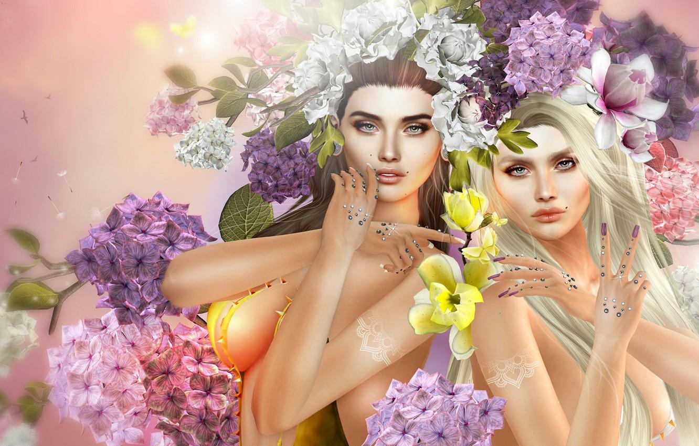 Фото обои цветы, девушки, арт, две девушки, гортензия